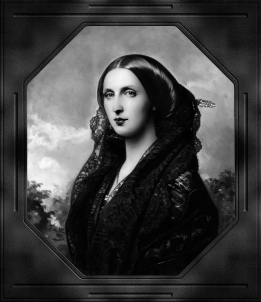 Portrait of Princess Maria Ilyinichna Golitsyna by Federico de Madraso y Kunz Black and White Xzendor7 Old Masters Art Reproductions by xzendor7