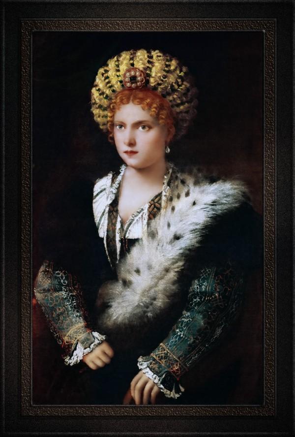Portrait dIsabella dEste by Tiziano Vecellio Old Masters Classical Fine Art Reproduction by xzendor7