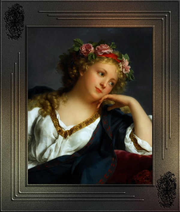 Portrait of a Lady Wearing A Floral Wreath by Marie-Genevieve Bouliard Old Masters Classical Art Reproduction by xzendor7
