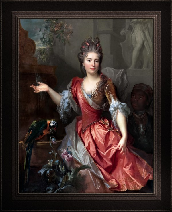 Portrait of a Woman and an Enslaved Servant by Nicolas De Largillerre Fine Art Old Masters Reproduction by xzendor7