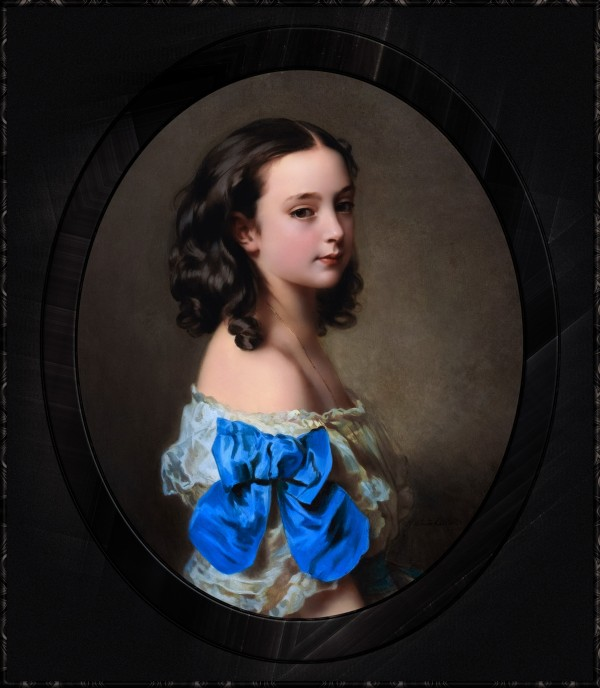 Portrait of a Young Girl Thought To Be Princess Essling  by Hermann Winterhalter Classical Art Portrait Reproduction by xzendor7