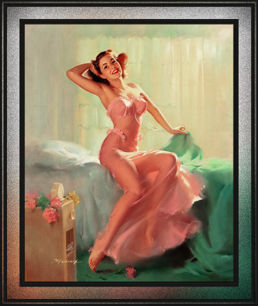 Pretty In Pink Pin-up Girl by Bill Medcalf Pin-Up Girl Vintage Artwork by xzendor7