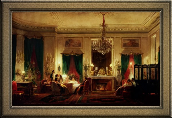 Princess Mathildes Salon by Sebastien Charles Giraud Classical Fine Art Old Masters Reproduction by xzendor7