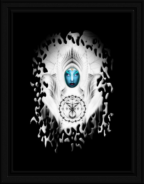 Riddian Queen Angel White GSplatter On Black Fractal Art Portrait Composition by xzendor7