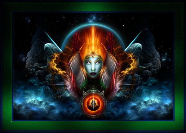 Riddian Queen Seat Of The Gods Sci-Fi Fractal Art Portrait by xzendor7