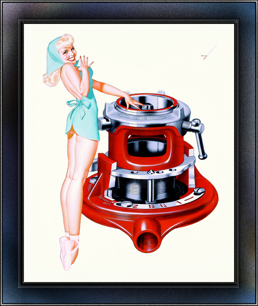 Rigid Tool 1956 Pinup Girl Calendar Illustration by George Brown Petty IV Vintage Pinup Xzendor7 Art Reproductions by xzendor7