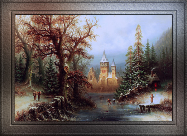 Romantic Winter Landscape with Ice Skaters by Albert Bredow Classical Art Xzendor7 Old Masters Reproductions by xzendor7