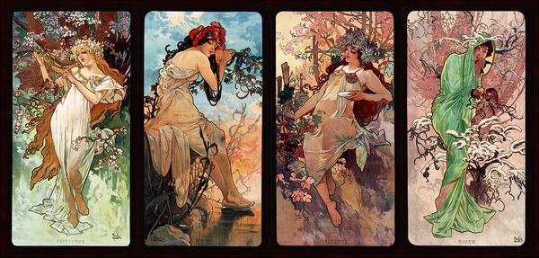 Seasons by Alphonse Mucha Art Nouveau Xzendor7 Old Masters Art Reproductions by xzendor7