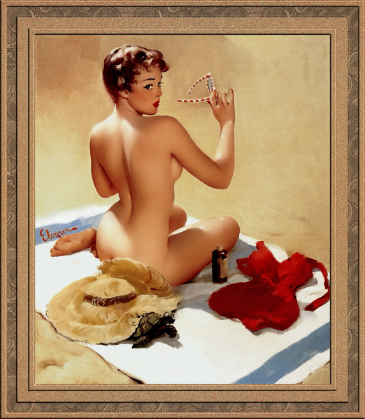 Shell Game c1959 by Gil Elvgren Vintage Pinup Illustration Xzendor7 Old Masters Reproductions by xzendor7
