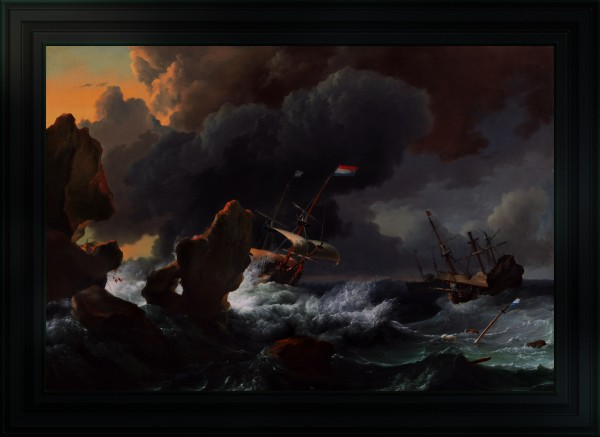 Ships In Distress Off A Rocky Coast by Ludolf Bakhuizen Old Masters Classical Fine Art Reproduction by xzendor7