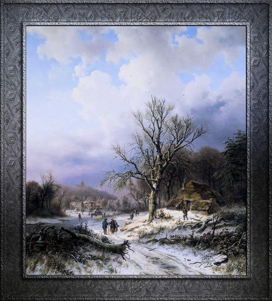 Snow Landscape by Alexander Joseph Daiwaille Classical Art Xzendor7 Old Masters Reproductions by xzendor7