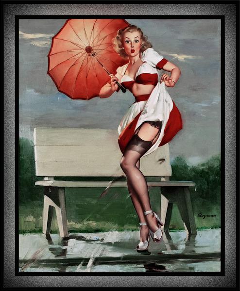 Sidewalk Splash Sexy Reveal by Gil Elvgren Pin-Up Girl Vintage Artwork by xzendor7