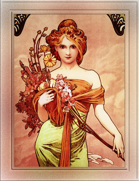 Spring The Golden Beauty by Alphonse Mucha Wall Decor Xzendor7 Old Masters Vintage Art Reproductions by xzendor7