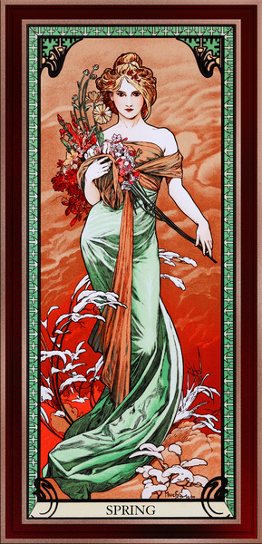 Spring by Alphonse Mucha Vintage Art Xzendor7 Old Masters Reproductions by xzendor7