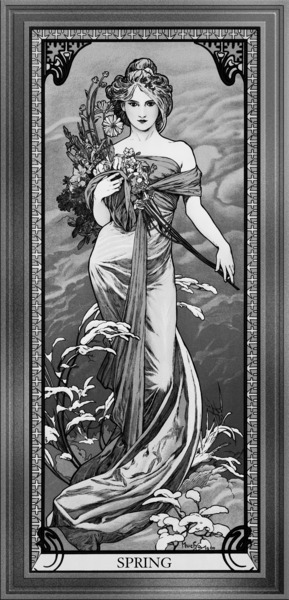 Spring By Alphonse Mucha Black and White Vintage Art Xzendor7 Old Masters Reproductions by xzendor7