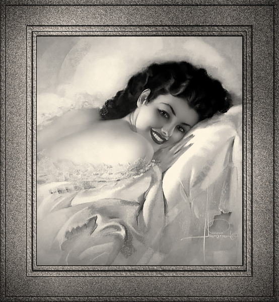 Sweet Dreams by Rolf Armstrong Vintage Illustration Xzendor7 Art Reproductions BW by xzendor7