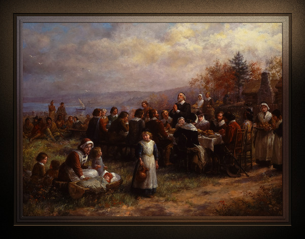 Thanksgiving at Plymouth by Jennie Augusta Brownscombe Classical Fine Art Xzendor7 Old Masters Reproductions by xzendor7