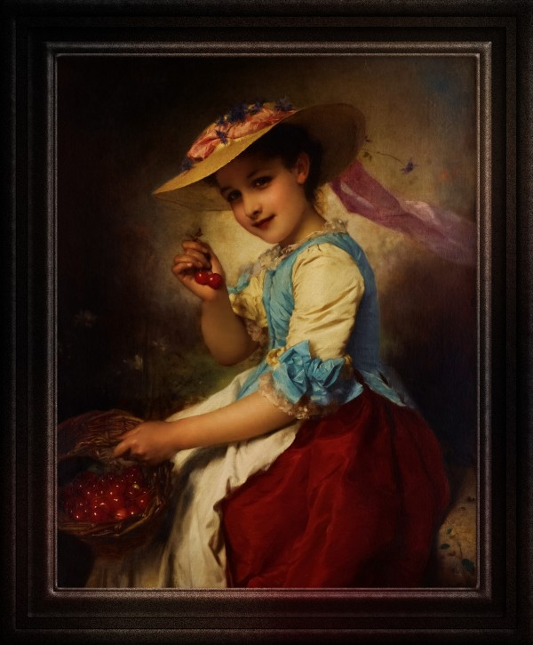The Cherry Girl by Adolphe Piot Old Masters Classical Art Reproduction by xzendor7