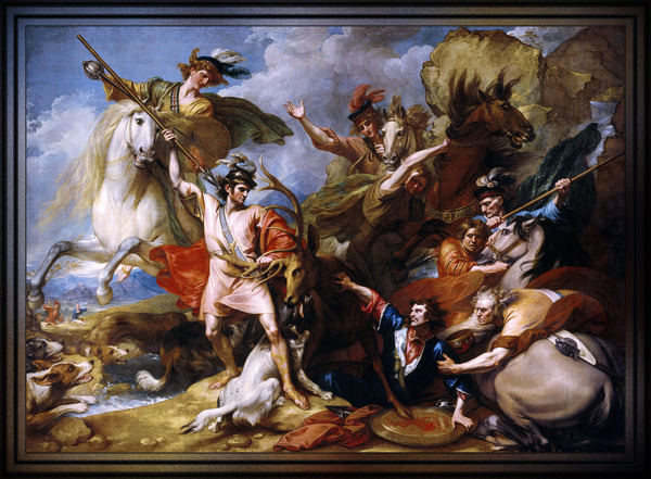 The Death of the Stag by Benjamin West Old Master Reproduction by xzendor7