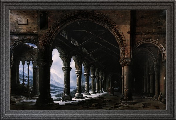 A Ruined Gothic Colonnade by Louis Daguerre Old Masters Reproduction by xzendor7