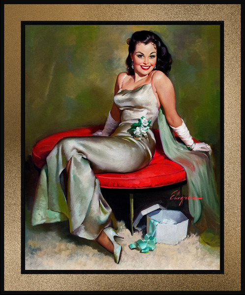 The Emerald Corsage by Gil Elvgren Pin-Up Girl Vintage Artwork by xzendor7