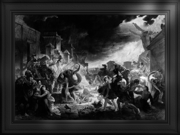 The Last Day of Pompeii by Karl Bryullov Black and White Xzendor7 Old Masters Art Reproductions by xzendor7