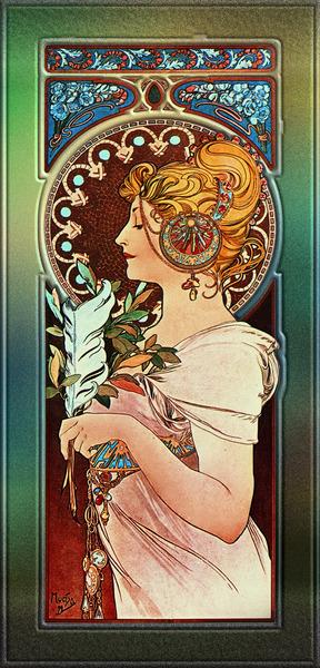 The Pen by Alphonse Mucha Art Nouveau Vintage Old Masters Reproduction by xzendor7