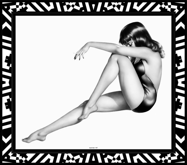 The Pinup Girl by Alberto Vargas Black and White Vintage Art by xzendor7