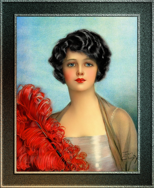 The Red Feather by Earl Christy Vintage Wall Decor Xzendor7 Old Masters Art Reproductions by xzendor7