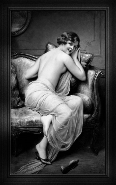 The Temptress by Francois Martin-Kavel Black and White Xzendor7 Old Masters Art Reproductions by xzendor7