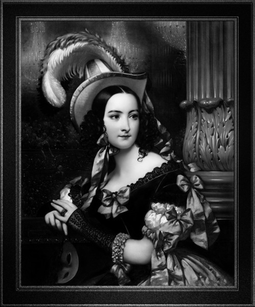The Venetian At The Mask Ball by Joseph-Desire Court Black and White Xzendor7 Old Masters Art Reproductions by xzendor7