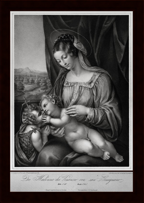 The Virgin and ChildWith Infant Saint John the Baptist by Engraver Franz Hanfstangl Old Masters Classical Art Reproduction by xzendor7