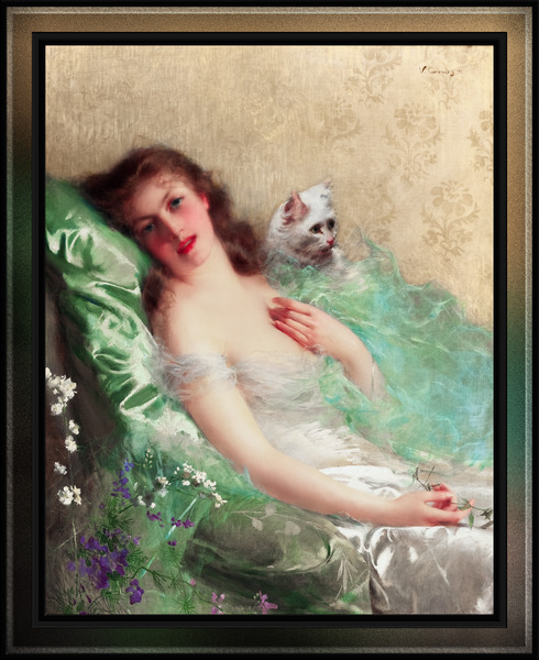 The White Cat by Vittorio Matteo Corcos Classical Fine Art Old Masters Reproduction by xzendor7
