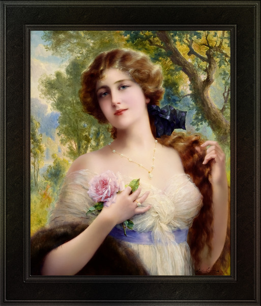 The Young Lady With A Rose by Emile Vernon Vintage Fine Art Xzendor7 Old Masters Reproductions by xzendor7