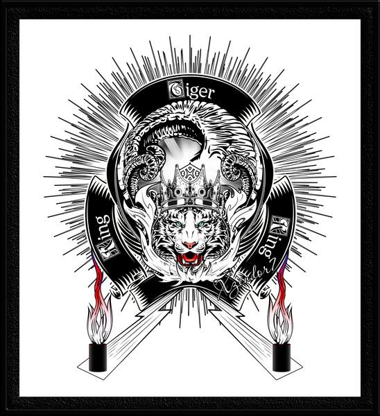 White Tiger King Tiger Art Emblem by Xzendor7 by xzendor7