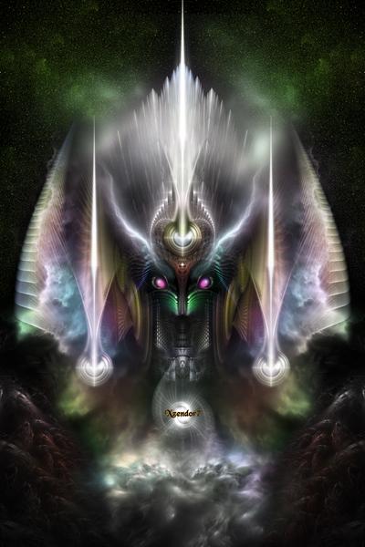 Tyrinan The Horikin God Of War Fractal Art Portrait by xzendor7