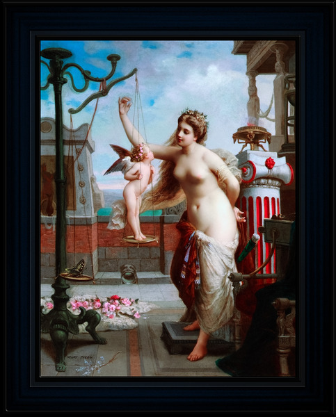 Venus Weighs Cupid Against A Butterfly by Henri-Pierre Picou Old Masters Classical Art Reproduction by xzendor7