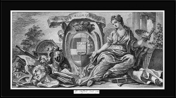Vignette With Shield of Arms and an Allegory for the Arts by Engraver Pierre Philippe Choffard Classical Art Reproduction by xzendor7