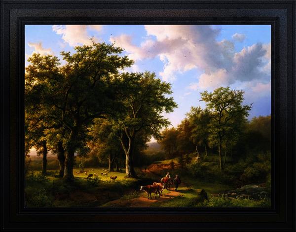 Waldlandschaft mit Hirten und Vieh by Barend Cornelis Koekkoek Classical Fine Art Xzendor7 Old Masters Reproductions by xzendor7
