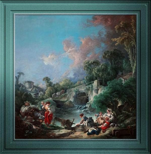Washerwomen by Francois Boucher Old Masters Fine Art Reproduction by xzendor7