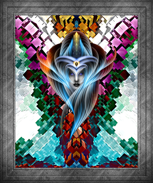 What Dreams Are Made Of GeomatCLR WQ FRAME Fractal Art Cuboid Portrait by xzendor7