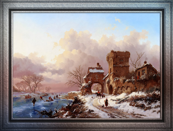 Winter Landscape With Travelers by Frederik Kruseman Old Masters Classical Fine Art Reproduction by xzendor7
