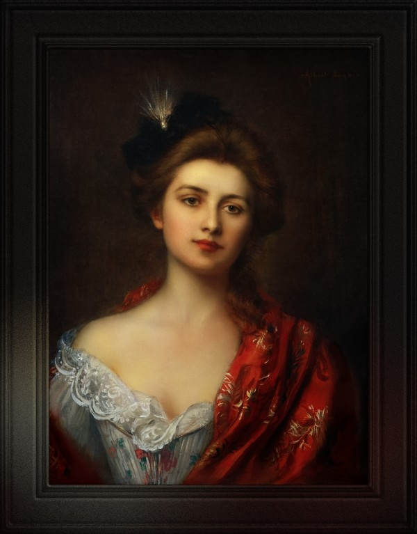 Woman In A Red Embroidered Shawl by Albert Lynch Classical Fine Art Reproduction by xzendor7