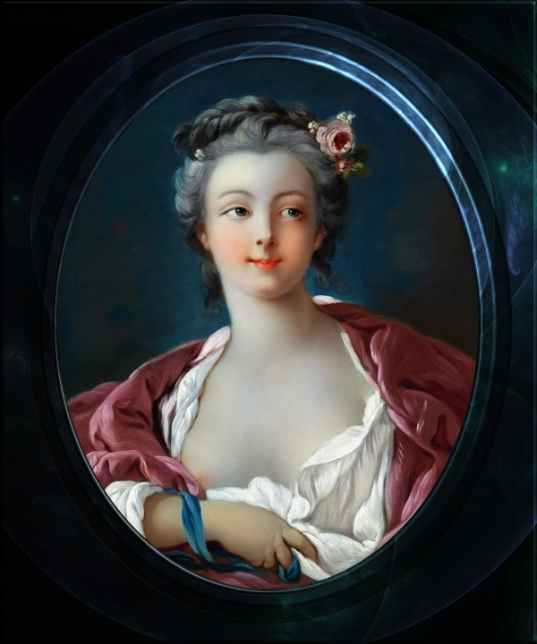 Young Woman with Flowers in Her Hair by Francois Boucher Old Masters Classical Fine Art Portrait Reproduction by xzendor7