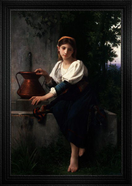 Young Girl Gathering Water At The Fountain by Elizabeth Gardner Classical Fine Art Xzendor7 Old Masters Reproductions by xzendor7