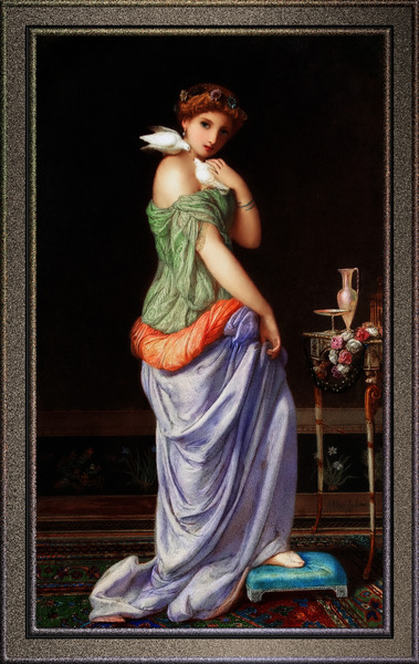 Young Lady With White Doves by Augustus Jules Bouvier Old Masters Classical Art Reproduction by xzendor7
