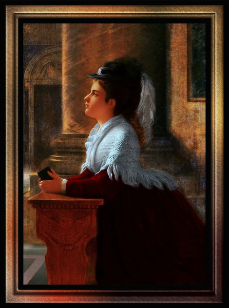 Young Woman Praying In Church by Anton Thiele Fine Art Old Masters Reproduction by xzendor7