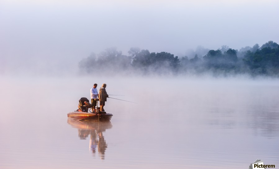 Fishing on Foggy Lake  Print