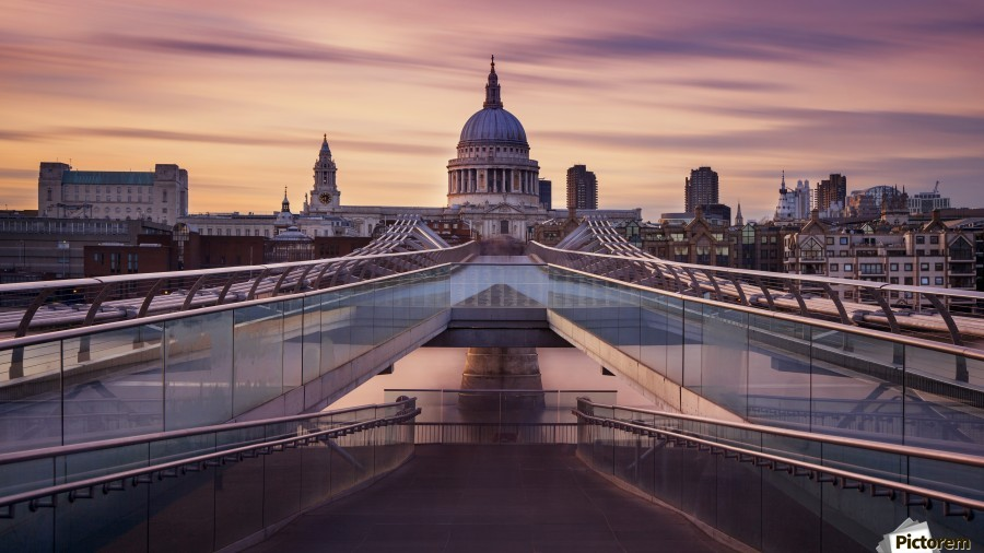 Millennium bridge leading towards St. Paul's church  Print