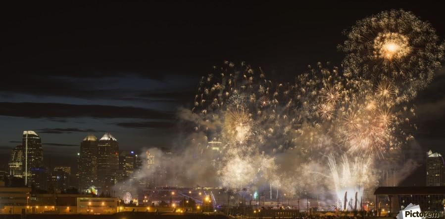 Fireworks in front of modern city skyline; Calgary, Alberta, Canada  Print